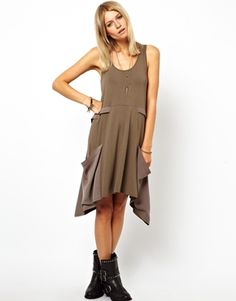 Image 1 of ASOS Swing Dress With Woven Drape Pocket Detail