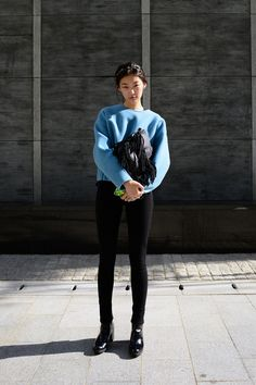 Streetstyle: Choi Junyoung at Spring 2014 Seoul Fashion Week shot by Kim Jinyong
