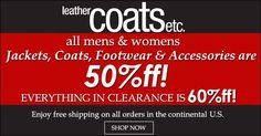 LeatherCoats  50% Off and 60% Off Clearance