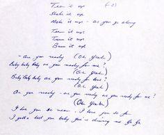 "davidrfuller:  ""Tear It Up handwritten lyrics from Brian  """