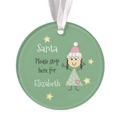Personalized name little girl green Christmas Ornament - good gifts special unique customize style