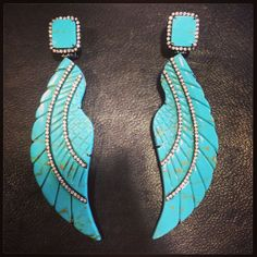 Turquoise #wings earrings