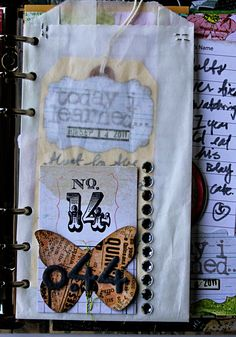 Scrap Paper Journal - Alissa [alissafast]   use white paper bags as a page with pockets