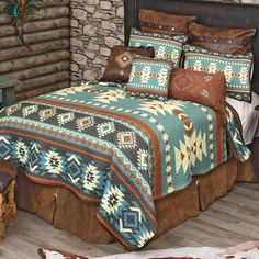 Quilt Bedding, Bedding Sets, Southwest Bedroom, Quilt Sets Queen, Western Bedding, Black Forest Decor, How To Clean Pillows, Western Furniture, Leather Pillow