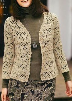 Crochet pineapple stitch cardigan