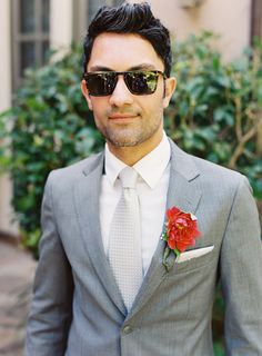 Groom Style .. this is one stylish fella. love the gray suit. suit by http://www.tedbaker.com/ photo by http://www.patmoyerweddings.com/