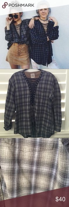 LF Lace Up Vintage Flannel LF lace up vintage flannel. Please note that not all lace up flannels are the same of course since it's vintage 💕 Fits size S/M LF Tops