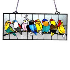 Birds Design Art Glass Window Panel with Bronze Finish - Overstock™ Shopping…