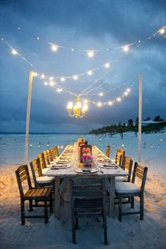 Beautiful dinner on the beach with the guests after the renewal