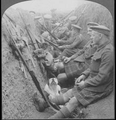 Highland Territorials in trench with mascot dog; http://www.theguardian.com/world/gallery/2014/nov/08/photographs-from-the-front-line