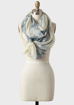 Perfect way to tie a scarf - Blue Danube Printed Scarf   Modern Vintage  Accessories Cozy f27c4a02652