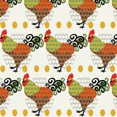 Rooster Parade / Cream fabric by hoodiecrescent