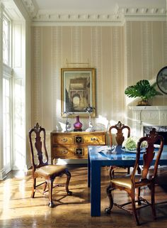 A Townhouse in Philadelphia is Transformed Into a Refreshed Contemporary Residence Duck Egg Blue Dining Chairs, Fabric Dining Chairs, Decorating Blogs, Interior Decorating, Interior Design, Chairs For Kitchen Island, Monochromatic Living Room, Neoclassical Design, Classy Living Room