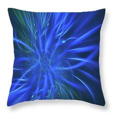 Mariia Kalinichenko Throw Pillow featuring the digital art Neon Blue Abstract by Mariia Kalinichenko. #MariiaKalinichenko