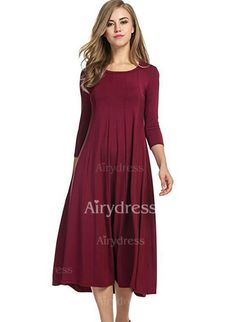 Dress - $21.09 - Solid Pockets Long Sleeve Midi Shift Dress (1955235653)