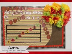 Fall Themed Music Bulletin Board - Leaves are falling into place, on a line or in a space.