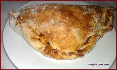 calzone-like with ham, cheese and mushrooms