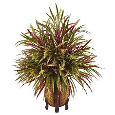 This Autumn Grass Arrangement is bursting with textured and colorful grassy leaves. The arrangement comes with a textured woven vase with sturdy, dark brown legs. This explosion of colors brings an autumnal touch to a living room, sun room or even bedroom.