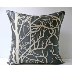 Decorative Modern Grey Throw Pillow Cover $24 LOVE the tree branch motif