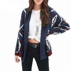 New arrival femme autumn winter vintage ethnic dark blue floral knitted long cape Cardigan sweater Women's Cardigans Clothes Cheap Cardigans, Cardigans For Women, Tribal Print Cardigan, Black Cardigan, Style Boho, Tribal Style, Cardigan Outfits, Cardigan Sweaters, Sweater Set