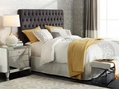 Get the look of this chic gray and yellow designer bedroom
