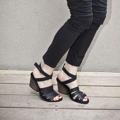 Black High heel shoes with leather Straps / by WalkByAnatDahari, $243.00