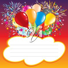 Happy birthday transparent png frame designs pinterest happy iclipart clip art illustration of a birthday invitation design with balloons and text area filmwisefo