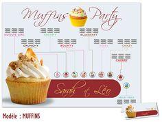 Plan de Table Mariage MUFFINS Thème GOURMANDISE FESTIF http://www.kellygraphic.net/plan-de-tables-mariage/gourmandise-festif  #wedding #plandetable #plantables #mariage #gourmandise #festif #bonbon #chocolat #fruits #sucre #love #amour #popcake #cupcake #candy #macaron