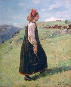 An oil painting of a milkmaid (budeia) from Hallingdal, Norway, by Gerhard Munthe Dated No Apron. Lund, Anton, Folk Costume, Costumes, Norwegian Clothing, Large Tapestries, Nordic Lights, Gerhard, Russian Painting