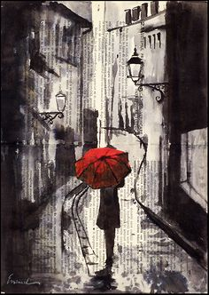 Sillent streetAutographed PRINT OF Original Ink Drawing and collage. Girl walking on a old street with her red umbrella.Printed at digital typography studio an