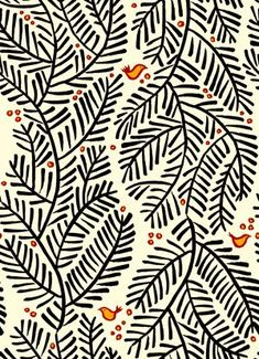 fabrics digitally printed by Spoonflower - arborvitae - white hand-drawn pattern of black fern-like leaves and branches with red and yellow birds and berries.hand-drawn pattern of black fern-like leaves and branches with red and yellow birds and berries. Motifs Textiles, Textile Prints, Textile Patterns, Textile Design, Fabric Design, Pretty Patterns, Beautiful Patterns, Color Patterns, Surface Pattern Design