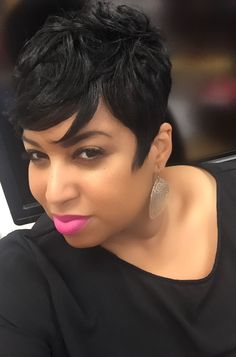 Cute short wigs for black women lace front wigs human hair wigs. Click the link . Pink And Black Hair, Black Hair Dye, Short Sassy Hair, Short Hair Cuts, Pixie Cuts, Updo, Curly Hair Styles, Natural Hair Styles, Short Black Hairstyles