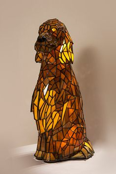 Irish Setter Stained Glass Lamp 3D Sculpture Dog