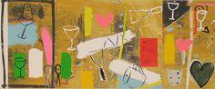 Roger Selden, Opus Ocra, Serigrafia, collage, 168x71 cm