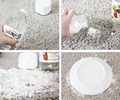 How to clean pet stains from carpet: pour enough vinegar to soak, then enough baking soda to cover the spot. Cover with a bowl or plate and let it soak in. After a few days, vacuum & clean rug regularly. Just in case.