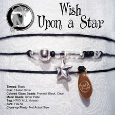 """Thread: BlackStar: Tibetan Silver Colored Glass Beads: Frosted, Black, ClearMetal Beads: Silver PlateTag: NTIO/ A.LL. (brass)Size: Fits AllClose-up Photo: Not Actual SizeOur special """"forever"""" thin chord is color fast and waxed to make it super strong and water resistant. Wear it in the shower or the pool.  The copper or brass tag is hand stamped with the NTIO Logo on one side and bracelets that support an Artist, Band, Cause, Designer, Event..."""