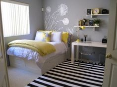 Small bedroom idea. I love this!I am going to have a partly concrete floor so a carpet would be nice. Light colors and organized. Maybe a desk or a sitting area would be nice for schoool and such.
