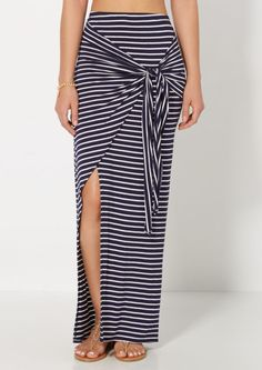 image of Striped Knotted & Split Maxi Skirt