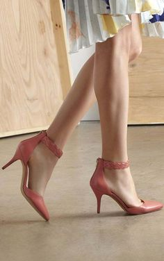 Coral Heels with Braided Ankle Straps shoes