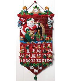"Must Be Santa Advent Calendar Felt Applique Kit-13""x25"""
