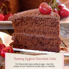Eggless Chocolate Cake - General Recipe from I Love Baking SA Eggless Chocolate Cake, Eggless Desserts, Eggless Recipes, Eggless Baking, Easy Desserts, Baking Recipes, Baking Tips, Baking Ideas, Brownie Recipes