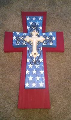 Americana Wooden Wall Cross by bstreetboutique on Etsy