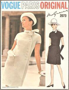1960s STRIKING Molyneux Diagonal Side Closing Dress Pattern VOGUE Paris Original 2073 Day or After Five Bust 36 Vintage Sewing Pattern UNCUT