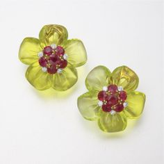 18K GOLD, CRYSTAL, RUBY AND DIAMOND EARCLIPS, ALETTO BROS.