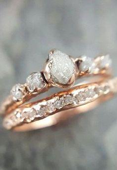 CUSTOM Raw Diamond Rose gold Engagement Ring