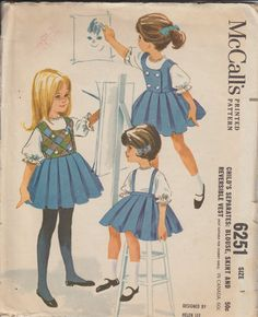 1962 McCall's 6251 Girls Pleated Skirt with Suspenders, Reversable Vest, and Blouse Vintage Sewing Pattern | Toddler, Size 1 | 60s, 1960s