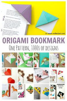 How to make a bookmark with origami. How to make a paper bookmark - one origami bookmark, of Corner Bookmark designs! We love Origami Corner bookmarks for kids Bookmarks Kids, Paper Bookmarks, Corner Bookmarks, Origami Stars, Origami Easy, Origami Paper, Kids Origami, Dollar Origami, Origami Folding