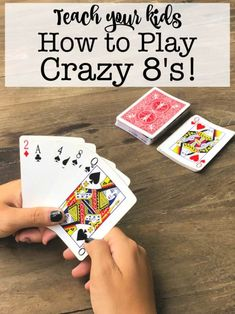 This summer, teach your kids how to play Crazy Crazy is a family card g. This summer, teach your kids how to play Crazy Crazy is a family card game favorite at our house, and kids Family Card Games, Fun Card Games, Card Games For Kids, Playing Card Games, Games For Teens, Adult Games, Kids Cards, Family Activities, Games With Cards