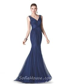 images navy blue long dresses | Home » Mermaid V Neck Navy Blue Tulle Long Formal Occasion Evening ...