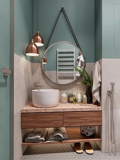 Badezimmer Rosa Granit Salbeigrün Wandfarbe Kupfer Pendelleuchten Lure anything you see. Small Bathroom Ideas On A Budget, Small Bathroom Interior, Small Bathroom Paint, Small Bathrooms, Sage Green Walls, Green Wall Color, Pink Color, Green Painted Walls, Scandinavian Style Home